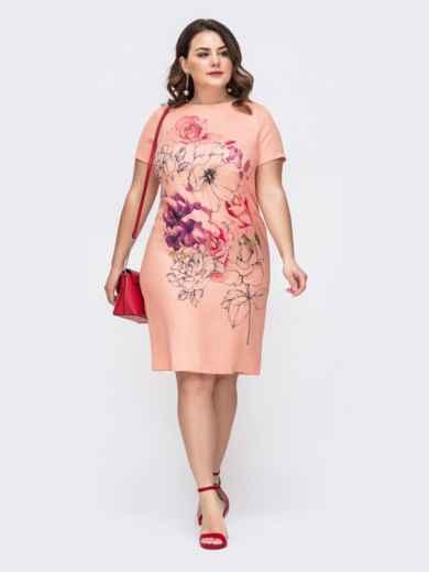 Коралловое платье-футболка большого размера с принтом 46418, фото 1
