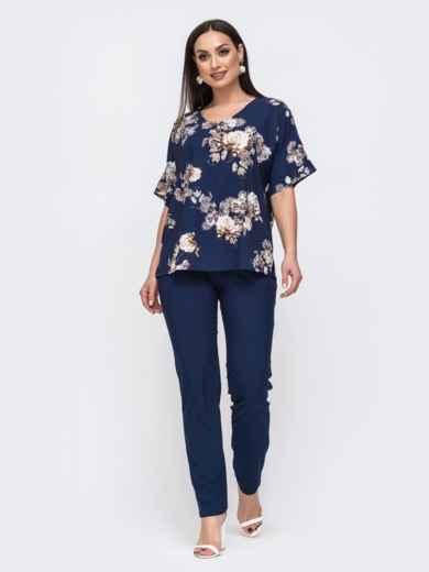 Костюм большого размера со свободной блузкой тёмно-синий 46258, фото 1