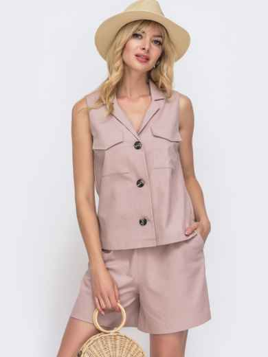 Льняная блузка с накладными карманами пудровая 49560, фото 1