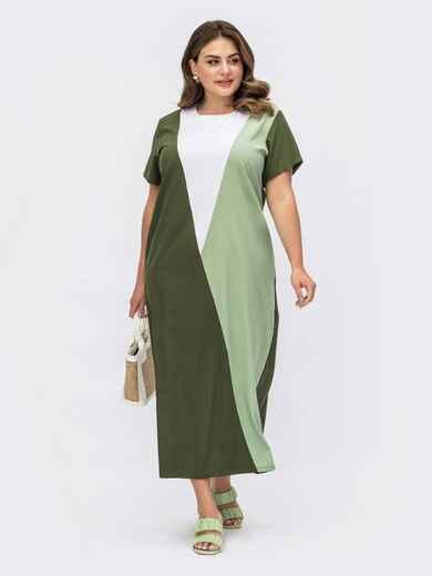 Платье батал цвета хаки в стиле колорблок 54077, фото 1