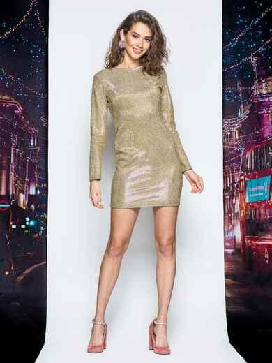 Платье желтого цвета из люрекса - 17980, фото 1 – интернет-магазин Dressa