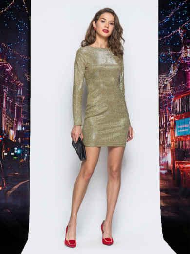 Платье желтого цвета из люрекса - 17980, фото 2 – интернет-магазин Dressa