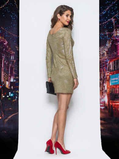 Платье желтого цвета из люрекса - 17980, фото 3 – интернет-магазин Dressa