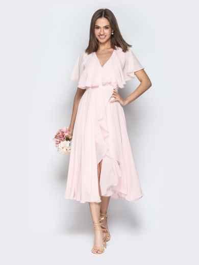 Пудровое платье из шифона с запахом и широкими воланами - 21303, фото 2 – интернет-магазин Dressa