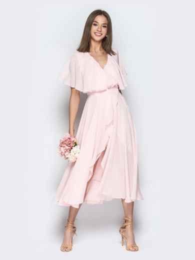 Пудровое платье из шифона с запахом и широкими воланами - 21303, фото 3 – интернет-магазин Dressa