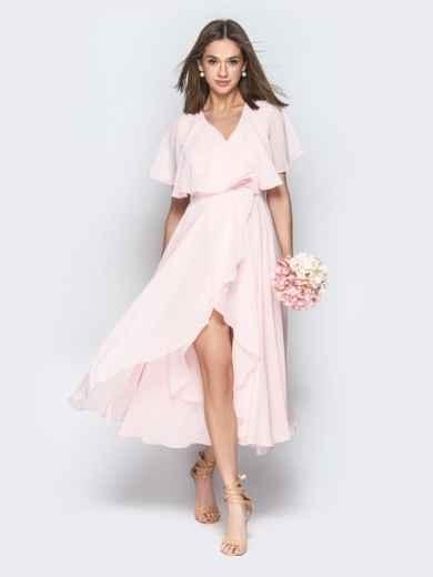 Пудровое платье из шифона с запахом и широкими воланами - 21303, фото 4 – интернет-магазин Dressa