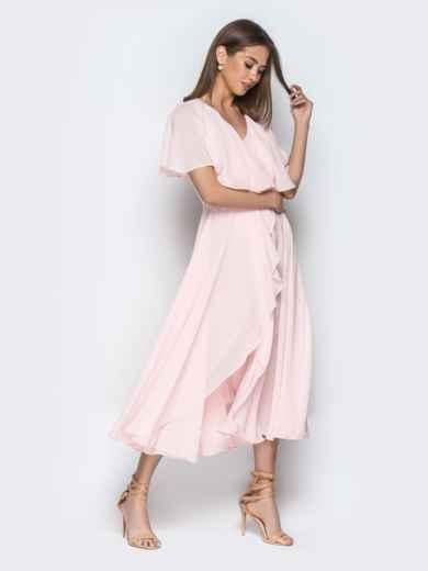 Пудровое платье из шифона с запахом и широкими воланами - 21303, фото 5 – интернет-магазин Dressa