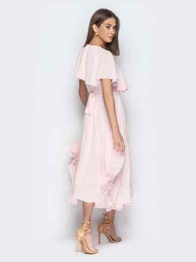 Пудровое платье из шифона с запахом и широкими воланами - 21303, фото 6 – интернет-магазин Dressa