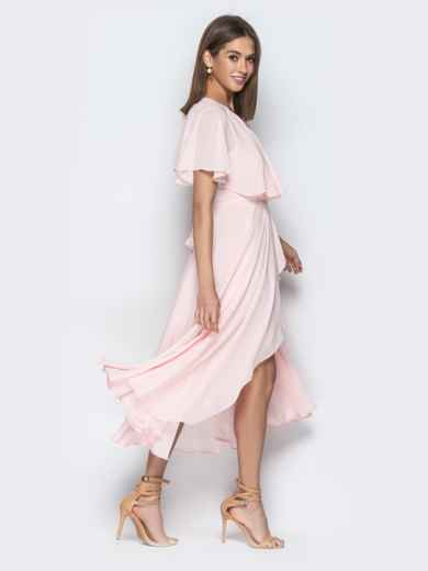 Пудровое платье из шифона с запахом и широкими воланами - 21303, фото 7 – интернет-магазин Dressa