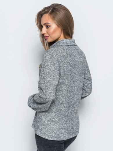 Рубашка серого цвета из ангоры с термонаклейкой на полочке - 17502, фото 2 – интернет-магазин Dressa