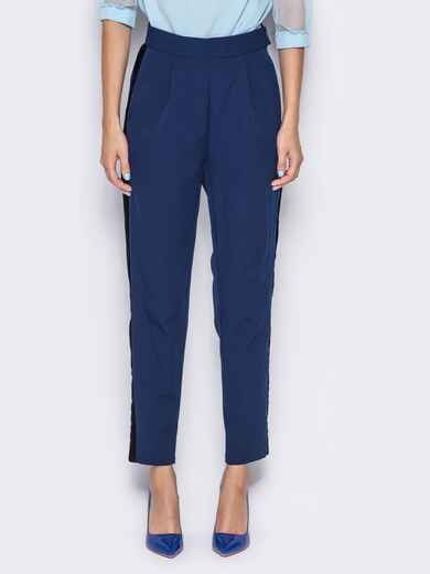 Синие брюки с велюровыми лампасами - 13209, фото 1 – интернет-магазин Dressa