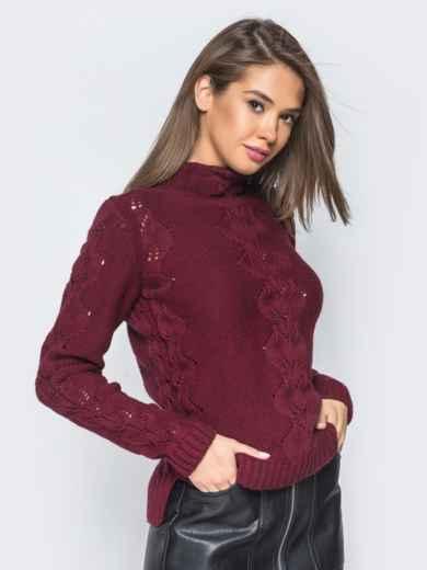 Свитер бордового цвета с воротником и перфорацией - 17099, фото 2 – интернет-магазин Dressa