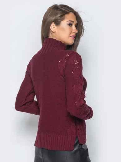 Свитер бордового цвета с воротником и перфорацией - 17099, фото 3 – интернет-магазин Dressa