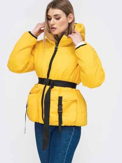Желтая куртка с капюшоном и объемными карманами 45255, фото 2