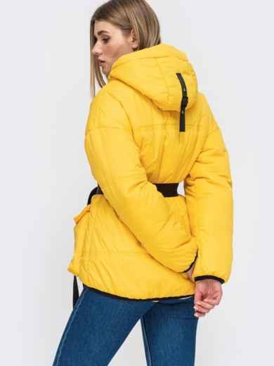Желтая куртка с капюшоном и объемными карманами 45255, фото 3