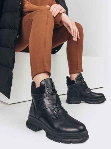 Зимние ботинки на молнии черные 51749, фото 1