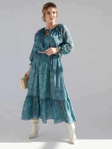 Шифоновое платье-миди с принтом и воланом по низу зеленое 53363, фото 1