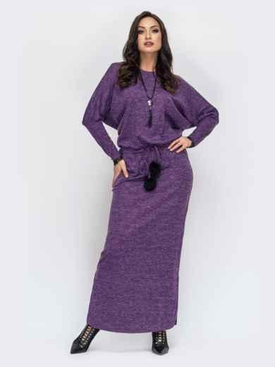 Платье батал в пол с кулиской по талии фиолетовое 44501, фото 1