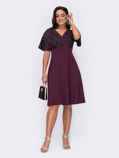 Бордовое платье батал с кокеткой из сетки и пайеток 52171, фото 1