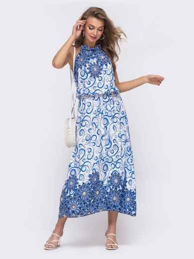 Длинное платье с принтом и резинкой по талии синее 48151, фото 1