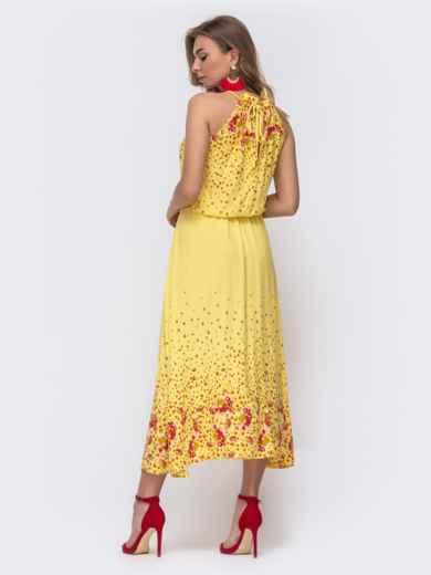 Длинное платье с принтом и резинкой по талии желтое 48152, фото 2