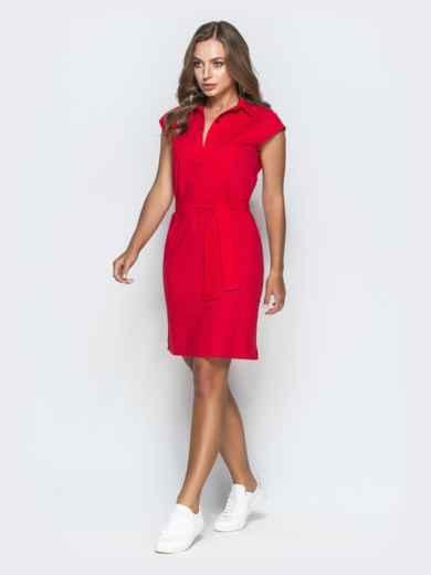 Хлопковое платье прямого кроя красное 38887, фото 2