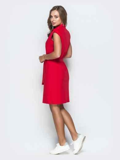 Хлопковое платье прямого кроя красное 38887, фото 3