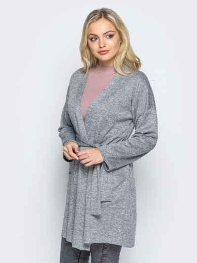 Кардиган с нитью люрекса и накладными карманами серый - 16332, фото 2 – интернет-магазин Dressa