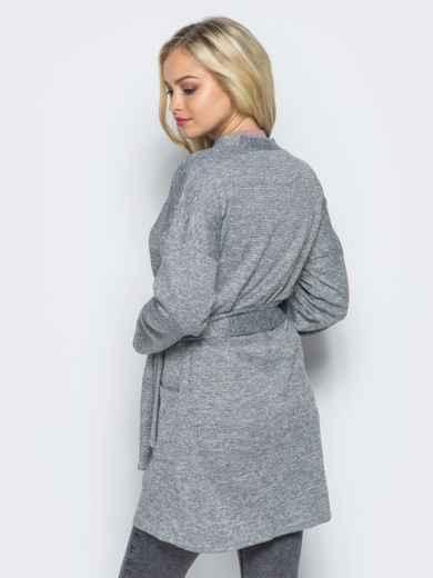 Кардиган с нитью люрекса и накладными карманами серый - 16332, фото 3 – интернет-магазин Dressa