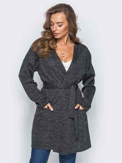 Кардиган с нитью люрекса и накладными карманами темно-серый - 16334, фото 1 – интернет-магазин Dressa