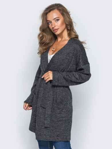 Кардиган с нитью люрекса и накладными карманами темно-серый - 16334, фото 2 – интернет-магазин Dressa