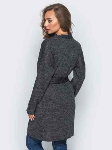 Кардиган с нитью люрекса и накладными карманами темно-серый - 16334, фото 3 – интернет-магазин Dressa