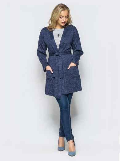 Кардиган с нитью люрекса и накладными карманами тёмно-синий - 17028, фото 1 – интернет-магазин Dressa