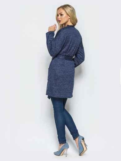 Кардиган с нитью люрекса и накладными карманами тёмно-синий - 17028, фото 2 – интернет-магазин Dressa