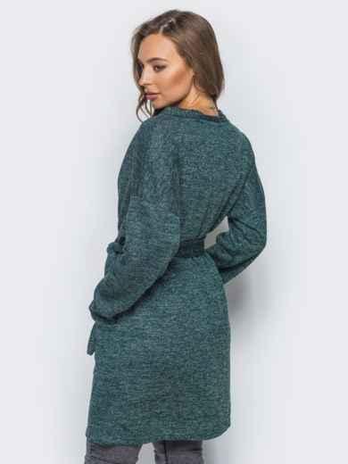 Кардиган с нитью люрекса и накладными карманами зелёный - 16333, фото 2 – интернет-магазин Dressa