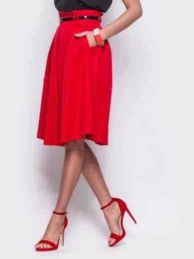 Красная расклешенная юбка с карманами по бокам - 12173, фото 2 – интернет-магазин Dressa