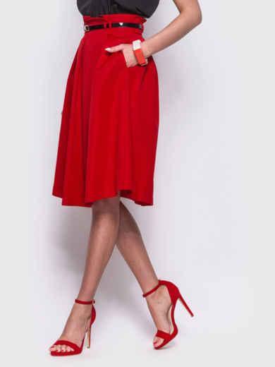 Красная расклешенная юбка с карманами по бокам - 38368, фото 2 – интернет-магазин Dressa