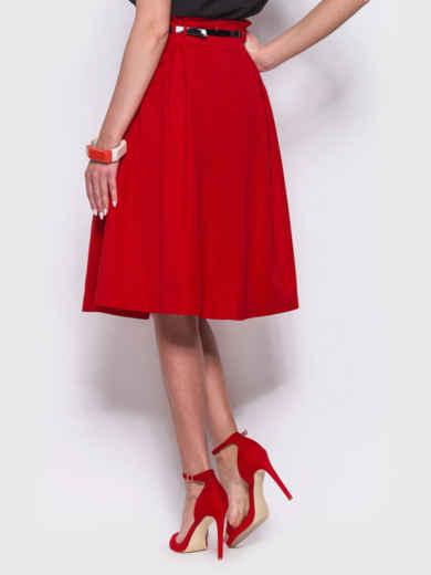 Красная расклешенная юбка с карманами по бокам - 38368, фото 3 – интернет-магазин Dressa