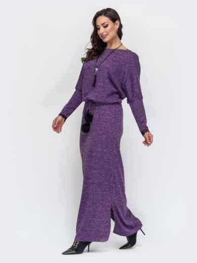 Платье батал в пол с кулиской по талии фиолетовое 44501, фото 2