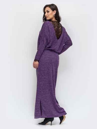 Платье батал в пол с кулиской по талии фиолетовое 44501, фото 3
