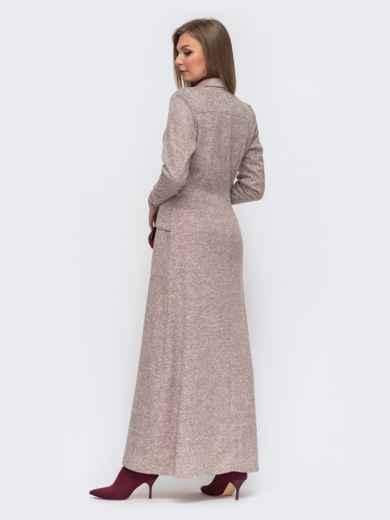 Платье из ангоры с накладными карманами цвета пудры 51063, фото 2