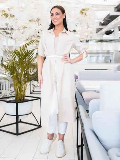Платье-рубашка большого размра в узкую полоску бежевое - 48322, фото 2 – интернет-магазин Dressa