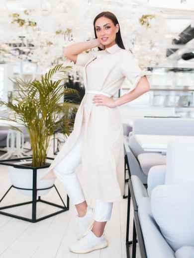 Платье-рубашка большого размра в узкую полоску бежевое - 48322, фото 3 – интернет-магазин Dressa