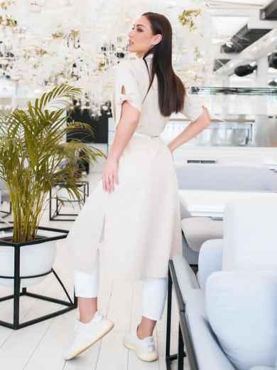 Платье-рубашка большого размра в узкую полоску бежевое - 48322, фото 4 – интернет-магазин Dressa