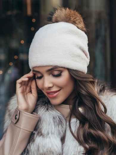 Пудровая шапка с помпоном и флисовой подкладкой 51106, фото 1