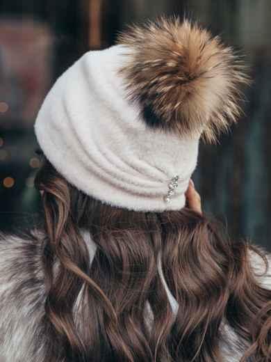 Пудровая шапка с помпоном и флисовой подкладкой 51106, фото 2