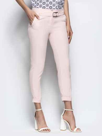Пудровые укороченные брюки с поясом - 21863, фото 2 – интернет-магазин Dressa