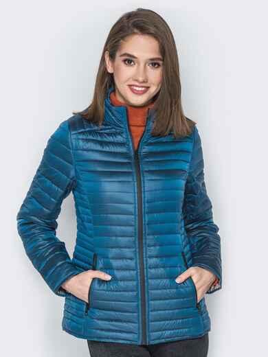 Синяя куртка с воротником-стойкой и карманами - 20291, фото 1 – интернет-магазин Dressa