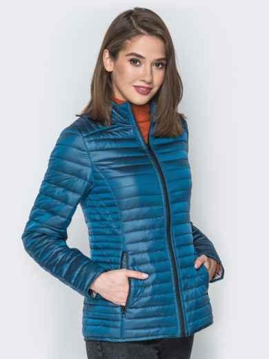 Синяя куртка с воротником-стойкой и карманами - 20291, фото 2 – интернет-магазин Dressa