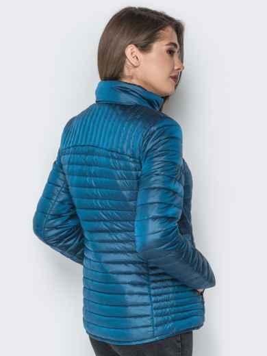 Синяя куртка с воротником-стойкой и карманами - 20291, фото 3 – интернет-магазин Dressa